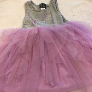 Pink & Violet gray tank dress with unicorn size 4